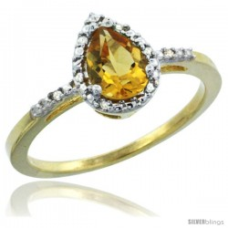 14k Yellow Gold Diamond Citrine Ring 0.59 ct Tear Drop 7x5 Stone 3/8 in wide