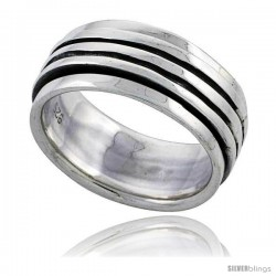 Sterling Silver Stripe Design Spinner Ring 3/8 wide
