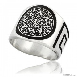 Sterling Silver Men's Aztec Calendar Ring Greek Key Pattern Sides, 18mm wide