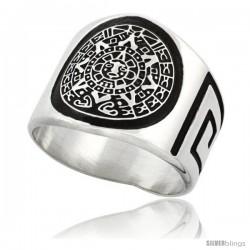 Sterling Silver Men's Aztec Calendar Ring Greek Key Pattern Sides, 18mm wide