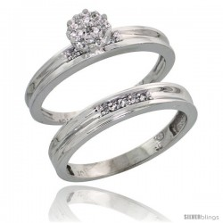 10k White Gold Diamond Engagement Rings Set 2-Piece 0.09 cttw Brilliant Cut, 1/8 in wide -Style Ljw019e2