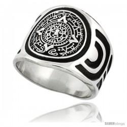 Sterling Silver Aztec Calendar Mayan Sun Men's Ring Aztec Design Sides, 18mm wide