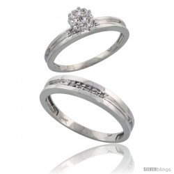 10k White Gold Diamond Engagement Rings 2-Piece Set for Men and Women 0.10 cttw Brilliant Cut, 4 mm & 3.5 m -Style Ljw019em