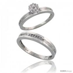10k White Gold Diamond Engagement Rings 2-Piece Set for Men and Women 0.10 cttw Brilliant Cut, 4 mm & 3.5 m -Style Ljw019em