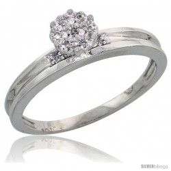 10k White Gold Diamond Engagement Ring 0.06 cttw Brilliant Cut, 1/8in. 3.5mm wide -Style Ljw019er