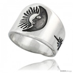 Sterling Silver Sun & Moon Men's Ring with Sunburst Design Sides, 17mm wide