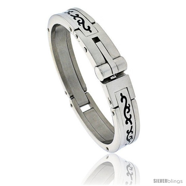 https://www.silverblings.com/448-thickbox_default/gents-stainless-steel-bangle-bracelet-w-enamel-tribal-pattern-5-8-in-wide.jpg