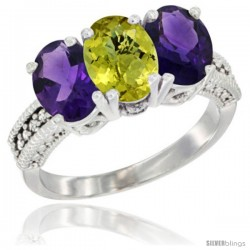 10K White Gold Natural Lemon Quartz & Amethyst Sides Ring 3-Stone Oval 7x5 mm Diamond Accent