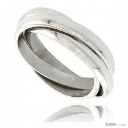 Sterling Silver 3mm Rolling Ring Triple Interlocking