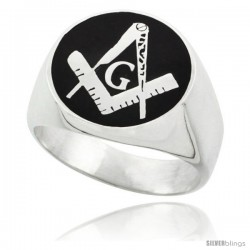 Sterling Silver Masonic Square and Compass Ring Black Resin Inlaly, 16mm wide