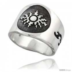 Sterling Silver Flaming Sun Men's Ring with Flames Sides, 17mm wide