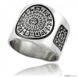 Sterling Silver Aztec Calendar Men's Ring Imix Inscription Sides, 18mm wide