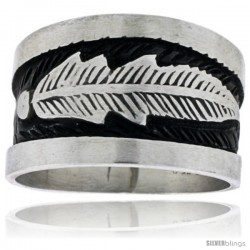 Sterling Silver Native American Design Feather Ring