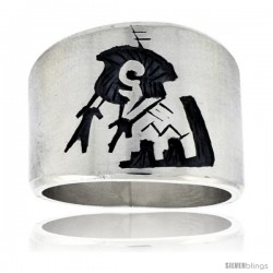 Sterling Silver Native American Design BRAVE Ring