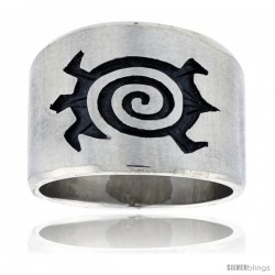Sterling Silver Native American Design Turtle Ring