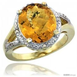 10k Yellow Gold Ladies Natural Whisky Quartz Ring oval 12x10 Stone