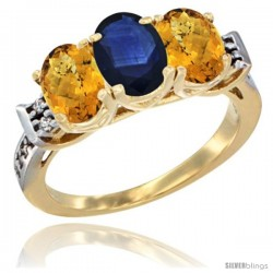 10K Yellow Gold Natural Blue Sapphire & Whisky Quartz Sides Ring 3-Stone Oval 7x5 mm Diamond Accent