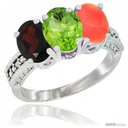 14K White Gold Natural Garnet, Peridot & Coral Ring 3-Stone 7x5 mm Oval Diamond Accent
