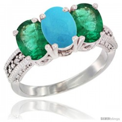 14K White Gold Natural Turquoise & Emerald Sides Ring 3-Stone 7x5 mm Oval Diamond Accent