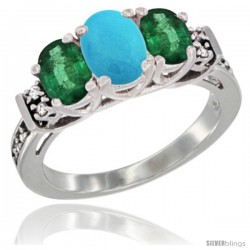 14K White Gold Natural Turquoise & Emerald Ring 3-Stone Oval with Diamond Accent
