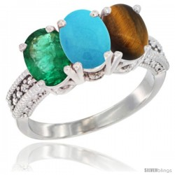 14K White Gold Natural Emerald, Turquoise & Tiger Eye Ring 3-Stone 7x5 mm Oval Diamond Accent
