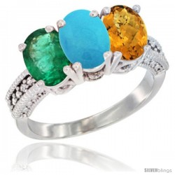14K White Gold Natural Emerald, Turquoise & Whisky Quartz Ring 3-Stone 7x5 mm Oval Diamond Accent