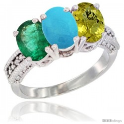 14K White Gold Natural Emerald, Turquoise & Lemon Quartz Ring 3-Stone 7x5 mm Oval Diamond Accent