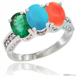 14K White Gold Natural Emerald, Turquoise & Coral Ring 3-Stone 7x5 mm Oval Diamond Accent