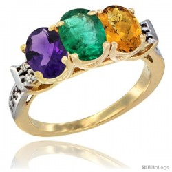 10K Yellow Gold Natural Amethyst, Emerald & Whisky Quartz Ring 3-Stone Oval 7x5 mm Diamond Accent