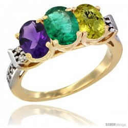 10K Yellow Gold Natural Amethyst, Emerald & Lemon Quartz Ring 3-Stone Oval 7x5 mm Diamond Accent