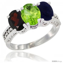 14K White Gold Natural Garnet, Peridot & Lapis Ring 3-Stone 7x5 mm Oval Diamond Accent