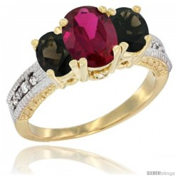 10K Yellow Gold Ladies Oval Natural Ruby 3-Stone Ring with Smoky Topaz Sides Diamond Accent