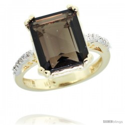 10k Yellow Gold Diamond Smoky Topaz Ring 5.83 ct Emerald Shape 12x10 Stone 1/2 in wide