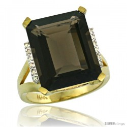 10k Yellow Gold Diamond Smoky Topaz Ring 12 ct Emerald Cut 16x12 stone 3/4 in wide