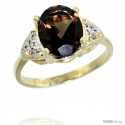 10k Yellow Gold Diamond Smoky Topaz Ring 2.40 ct Oval 10x8 Stone 3/8 in wide
