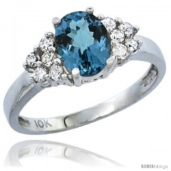 14k White Gold Ladies Natural London Blue Topaz Ring oval 8x6 Stone Diamond Accent
