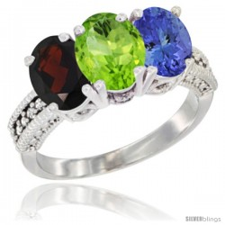 14K White Gold Natural Garnet, Peridot & Tanzanite Ring 3-Stone 7x5 mm Oval Diamond Accent