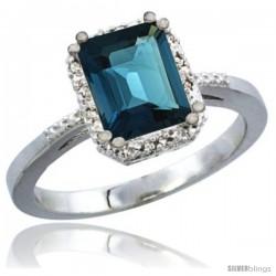 14k White Gold Ladies Natural London Blue Topaz Ring Emerald-shape 8x6 Stone Diamond Accent