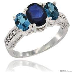 14k White Gold Ladies Oval Natural Blue Sapphire 3-Stone Ring with London Blue Topaz Sides Diamond Accent