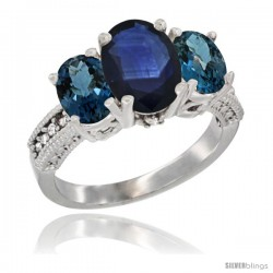 14K White Gold Ladies 3-Stone Oval Natural Blue Sapphire Ring with London Blue Topaz Sides Diamond Accent