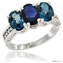 14K White Gold Natural Blue Sapphire & London Blue Topaz Sides Ring 3-Stone 7x5 mm Oval Diamond Accent