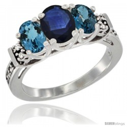 14K White Gold Natural Blue Sapphire & London Blue Ring 3-Stone Oval with Diamond Accent