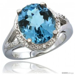 14k White Gold Ladies Natural London Blue Topaz Ring oval 12x10 Stone Diamond Accent
