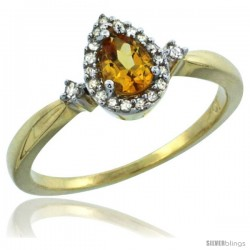 14k Yellow Gold Diamond Citrine Ring 0.33 ct Tear Drop 6x4 Stone 3/8 in wide