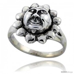 Sterling Silver Sun Poison Ring
