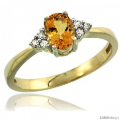 14k Yellow Gold Ladies Natural Citrine Ring oval 6x4 Stone Diamond Accent