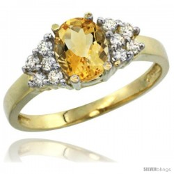 14k Yellow Gold Ladies Natural Citrine Ring oval 8x6 Stone Diamond Accent