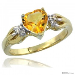 14k Yellow Gold Ladies Natural Citrine ring Heart shape 7x7 Stone Diamond Accent