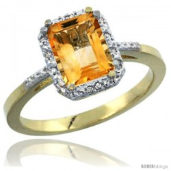 14k Yellow Gold Ladies Natural Citrine Ring Emerald-shape 8x6 Stone Diamond Accent