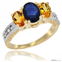 14k Yellow Gold Ladies Oval Natural Blue Sapphire 3-Stone Ring with Citrine Sides Diamond Accent